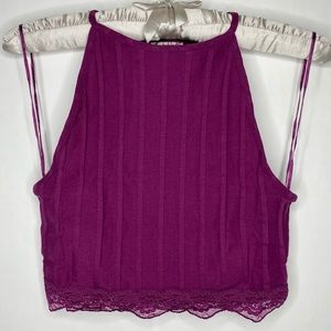Free People NWT Wine All Your Love Crop Top Small